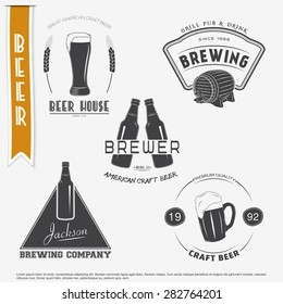 Beer and brewing set. Brewing typographic labels, logos and badges. Flat vector illustration