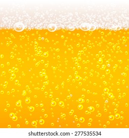 Beer bubbles background with foam, vector illustration