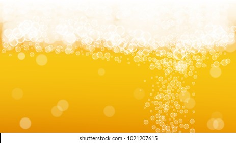 Beer bubbles background with realistic white foam.  Cool beverage for restaurant menu design, banners and flyers.  Yellow horizontal beer bubbles backdrop. Cold pint of golden lager or ale.
