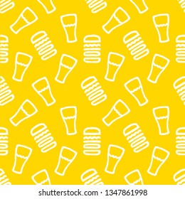 Beer Burger Seamless Pattern