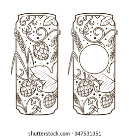 Beer can abstract ornament vector illustration. Engraving style