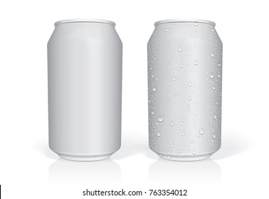 beer can with drops easily change colors mock up vector template