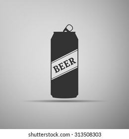 Beer can icon on grey background. Vector Illustration