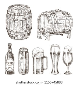 Beer cans bottles and glasses vector illustration isolated on white background, graphic image of wooden and glassy containers for ale, oak kegs set