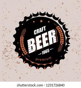 beer cap stylized vector symbol, emblem brewery design logo or emblem template