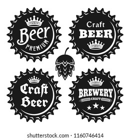 Beer caps with text set of vector monochrome vintage objects isolated on white background