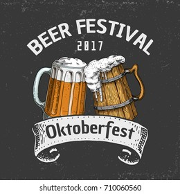 beer classical wooden barrels for Logo or emblem and banner. engraved in ink hand drawn in old sketch and vintage style for web or pub menu. design of oktoberfest.