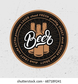 Beer coaster, beermat for bar, pub, beerhouse. Beer hand written lettering. Black background. Vector Illustration.