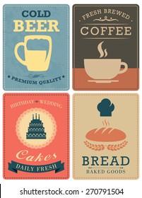 Beer, Coffee, Bakery, Cakes Posters. VECTOR