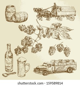 beer collection, hand drawn illustration