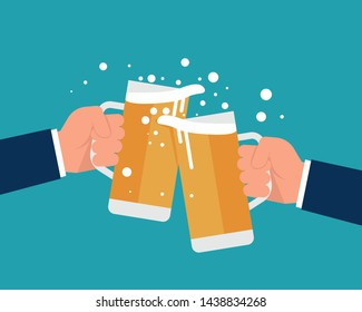 Beer colliding. Business hand holding beer cheering and celebrating. Vector illustration celebration with beer concept. Flat cartoon design.
