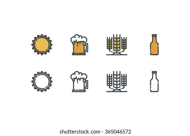 Beer color icons. Line art. Stock vector.