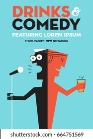 Beer and Comedy Concept. Stand up Comedy Poster with Text box Template. A guy holding mic. A guy holding beer glass. Vector Illustration. EPS 10