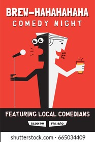 Beer and Comedy Concept. Stand up Comedy Poster with Textbox Template. A guy holding mic. A guy holding beer glass. Vector Illustration. EPS 10