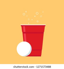 Beer cup cartoon vector. symbol. logo design. ping pong ball. game.