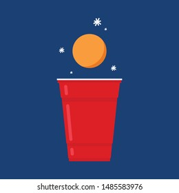 Beer cup vector. free space for text. wallpaper. copy space. ping pong ball vector.