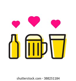 Beer cups and bottle with hearts. Love beer icon flat vector on white background.
