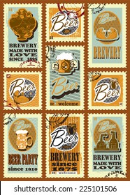 Beer design. Postage stamps set for beer design. Set contains images of beer mugs,  beer labels,brewery, heart of steam punk style, hands with beer mugs, fish, text, stamps and price.