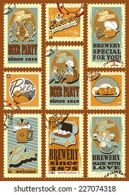 Beer design. Postage stamps set for beer design. Set contains images of  beer labels, ship,seaman with binoculars, mermaid with beer mug ,old box, shell, fish, text, stamps and price.