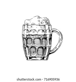 Beer in dimpled mug. Vector illustration of jug glass in ink hand drawn style. isolated on white.