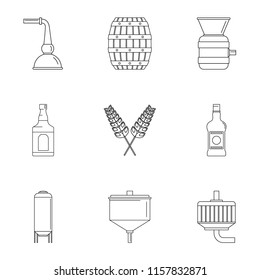 Beer distillation icons set. Outline set of 9 beer distillation vector icons for web isolated on white background