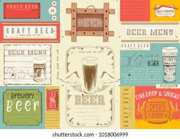 Beer Drawn Menu Design. Craft Beer Placemat for Restaurant, Bar, Pub and Cafe. Vector Illustration.