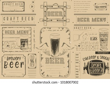 Beer Drawn Menu Design. Craft Beer Placemat for Restaurant, Bar, Pub and Cafe. Place for Text Menu. Retro Craft Paper Design.  Vector Illustration.