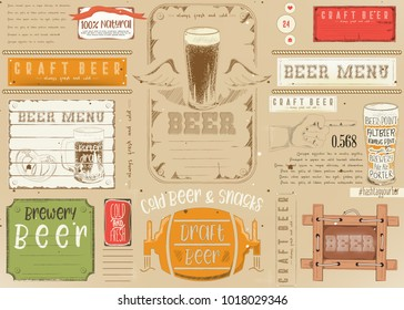 Beer Drawn Menu Design. Craft Beer Placemat for Restaurant, Bar, Pub and Cafe. Place for Text Menu.  Vector Illustration.