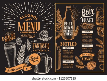 Beer drink menu for restaurant and cafe. Design template on blackboard background with hand-drawn graphic illustrations. Vector beverage flyer for bar.