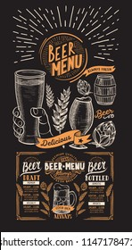 Beer drink menu for restaurant and cafe. Design template with on chalkboard background hand-drawn graphic illustrations. Vector beverage flyer for bar.