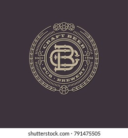 Bier-Emblem. Überschneidete Buchstaben. B und C Monogramm. Logo für Bierskraft. Antiquitätenzeichen wie eine Gravur.