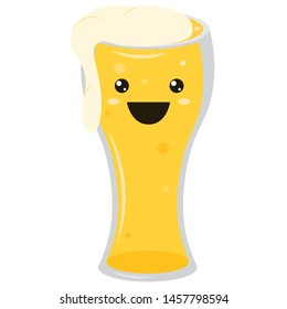Beer emoji glass with eyes. Oktoberfest icon. Element for menu. Emoji icon. Vector illustration.