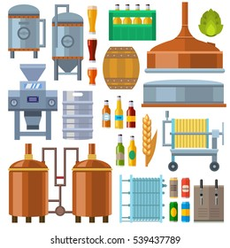 Beer factory production line vector. Isolated beery batter and other light alcohol drinks boxes and barrels