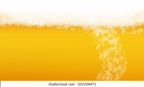 Beer fest background and realistic bubbles.  Cool beverage for restaurant menu design, banners and flyers.  Yellow horizontal beer fest background in foam. Fresh cup of lager for brewery design.