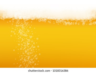 Beer fest background and realistic bubbles.  Cool liquid drink for pub and bar menu design, banners and flyers.  Yellow horizontal beer fest background in foam. Cold glass of ale for brewery design.