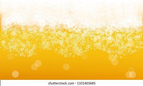 Beer fest background with realistic bubbles.  Cool liquid drink for pub and bar menu design, banners and flyers.  Yellow horizontal beer fest background in foam. Fresh cup of lager for brewery design.