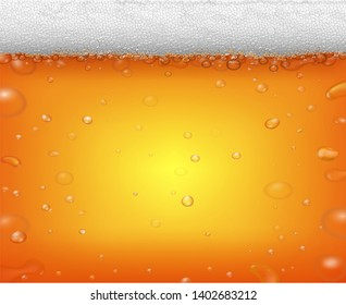 Beer fest background and realistic bubbles. Cold glass of ale or pub drink