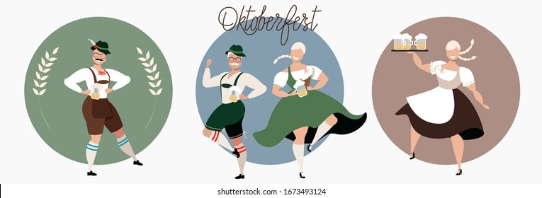 Beer fest in Germany. Oktoberfest celebration. People drinking beer and dancing. Round sticker designs for web and print. Modern hand-drawn vector illustration. Men and women in traditional costumes.