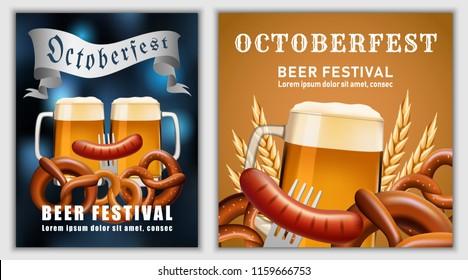 Beer fest october german banner concept. Realistic illustration of beer fest october party german vector banner for web