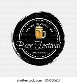 Beer festival badges logos and labels for any use, logo templates and design elements for beer house, bar, pub, brewing company, brewery, tavern, restaurant.