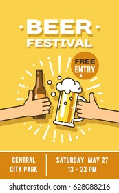 Beer festival in the city, event poster. Vector illustration.
