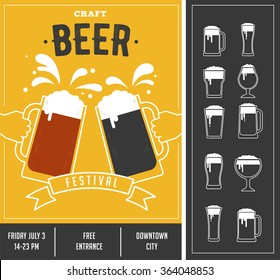 Beer festival, event poster and icon set
