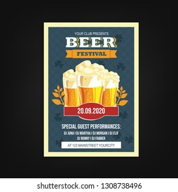 beer festival flyer template with blue background and glass icon