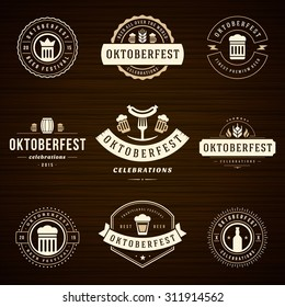 Beer festival Oktoberfest celebrations retro style labels, badges and logos set with beer mug on wooden background. Vector illustration.