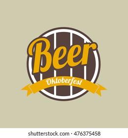 Beer festival Oktoberfest celebrations retro style label badge Vector illustration