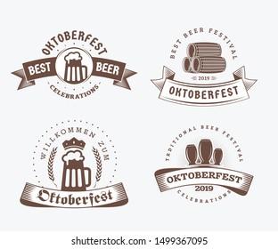 Beer festival Oktoberfest celebrations. Set of retro vintage beer badges, labels, logos for bar, pub, beer party. Vector design elements