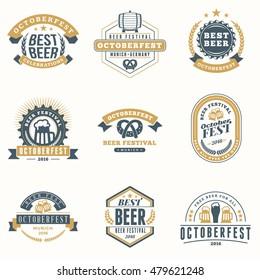 Beer Festival Oktoberfest celebrations. Set of retro vintage beer badges, labels, emblems. Vector design elements