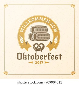 Beer festival Oktoberfest celebrations. Vintage beer badge. Vector design element