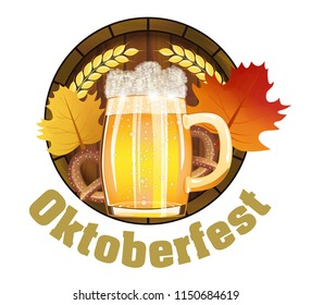 Beer Festival Oktoberfest in Germany Emblem for poster or banner with with fresh lager beer, barrel and pretzels, maple leafs. Vector illustration.