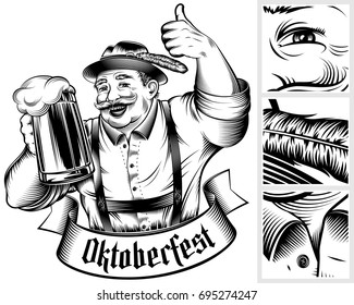 Beer festival Oktoberfest. Man holding beer glass with foamy lager. The thumbs-up gesture. Traditional German Bavarian clothes. A hat Trachtenhut, pants Lederhosen. Vector monochrome ink hand drawing